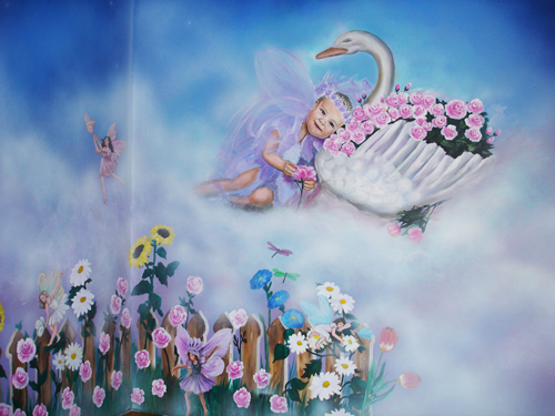 Hand-painted Baby and swan mural for Nursery by Caroline Woods