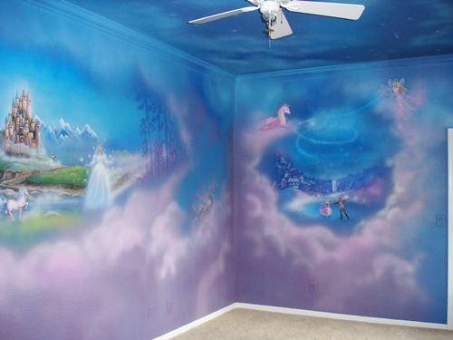 Hand-painted mural for Nursery by Caroline Woods