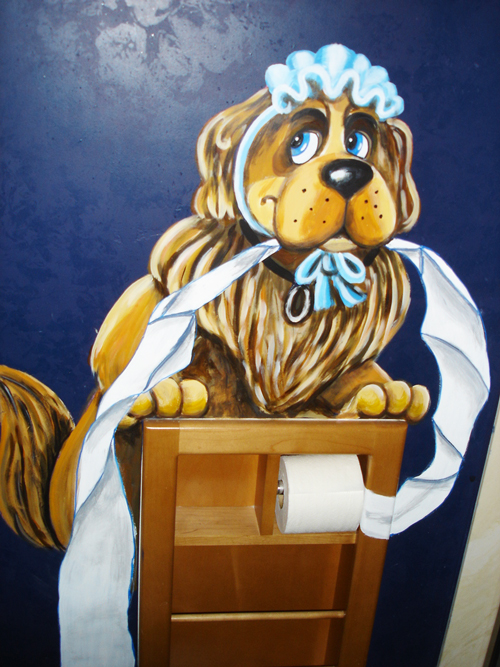 Nannie Dog Holding Toilet Paper Mural
