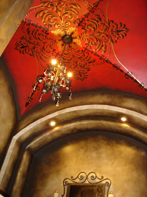 Red-Ceiling-gold-stencils