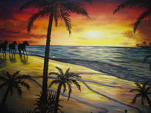 Sunset-Beach-Mural with horses