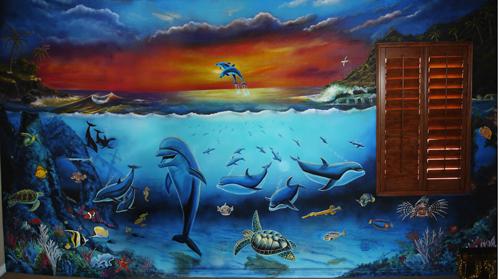 Dolphin Ocean Mural